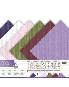 Set papirjev s teksturo Precious Marieke - Timeless Flowers - 30,5x30,5cm - 12 listov - 250g