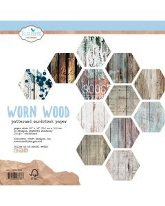 Set dvostranskih papirjev - Worn Wood - 30,5x30,5cm - 190g - Elizabeth craft designs