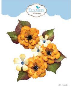 Rezalna šablona - Florals 13 - rože - 4,8x5,1cm (največja) - Elizabeth craft designs