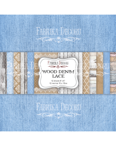 Set obojestranskih papirjev - Wood denim lace - 15x15cm - 12 listov - 200g