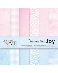 Set obojestranskih papirjev - Pink and blue JOY  30,5 cm x 30,5 cm