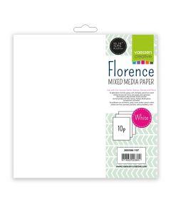 Mixed media papir - Florence - white - 240g - 30,5x30,5cm - 10 listov