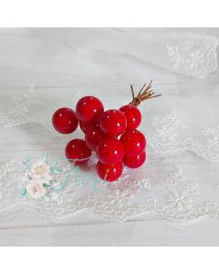 Dekorativne jagode - rdeče - 1 cm - 12 kos