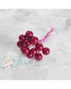 Dekorativne jagode - fuksija - 1 cm - 12 kos