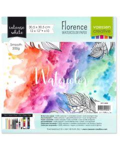Akvarelni papir - Florence - White - gladek - 200g  - 30,5x30,5cm - 10 listov