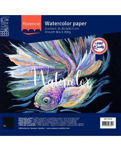 Akvarelni papir - Florence - Black - gladek - 300g  - 30,5x30,5cm - 5 listov