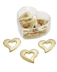 Srce - zlata - 3 cm - 3 kos