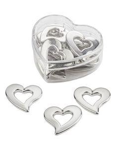 Srce - srebrna - 3 cm - 3 kos
