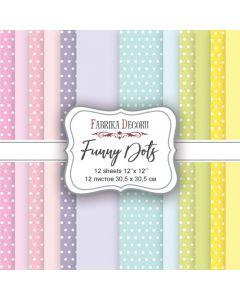 Set obojestranskih papirjev - Funny dots  30,5 x 30,5 cm