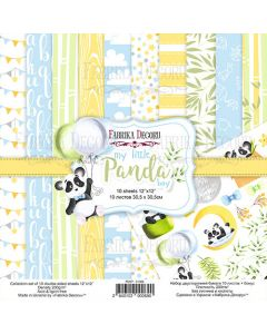 Set obojestranskih papirjev - My little panda boy - 30,5x30,5cm - 10 listov - 200g