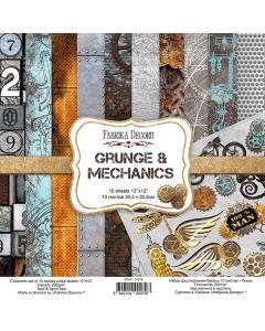 Set obojestranskih papirjev - Grunge&Mechanics - 30,5x30,5cm - 10 listov - 200g