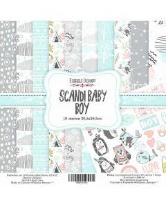 Set obojestranskih papirjev - Scandi baby boy  30,5 x 30,5 cm