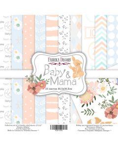 Set obojestranskih papirjev - Baby&mama  30,5 x 30,5 cm