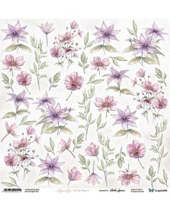 Papir za rezanje - Aquarelles - Flowers 2 - 30,5x30,5cm - 250g