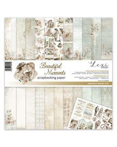 Set dvostranskih papirjev - Beautiful Moments - 30,5x30,5cm - 250g - 11 listov+bonus list - Lexi Design