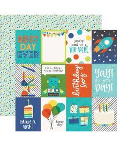 Dvostranski papir - Birthday Blast 3x4 Elements - 30,5x30,5cm - Simple Stories