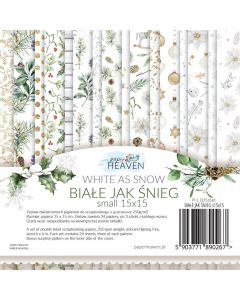 Set dvostranskih papirjev - White as snow - 15x15cm - 24 listov - 250g