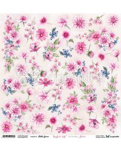 Papir za rezanje - Bright & Soft - Flowers - 30,5x30,5cm - 250g