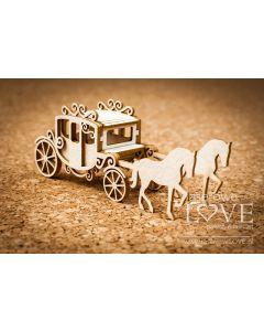 Chipboard izrezki - Kočija s konji 3D