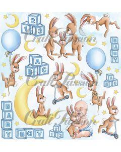 Papir za rezanje - Cute Bunny Boy - 30,5x30,5cm - 250g - Craft Passion