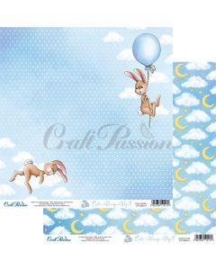 Dvostranski papir - Cute Bunny Boy 01 - 30,5x30,5cm - 250g - Craft Passion