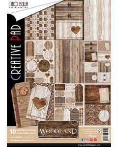 Set dvostranskih papirjev - Woodland - creative pad - A4 - 10 listov - 190g