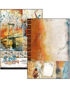 Set dvostranskih papirjev - Blue note - creative pad - A4 - 9 listov - 190g