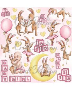Papir za rezanje - Cute Bunny Girl - 30,5x30,5cm - 250g - Craft Passion