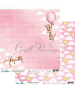 Dvostranski papir - Cute Bunny Girl 01 - 30,5x30,5cm - 250g - Craft Passion