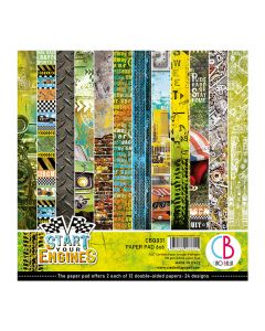 Set dvostranskih papirjev - Start your Engines - 15x15cm - 24 listov - 190g