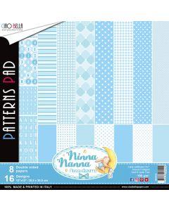 Set dvostranskih papirjev - Ninna nanna Boy - vzorci - 30,5x30,5cm - 8 listov - 190g
