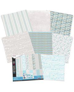 Set dvostranskih papirjev - TIME FOR HOME - vzorci - 30,5x30,5cm - 8 listov - 190g
