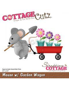 Rezalna šablona CottageCutz Mouse w/ Garden Wagon