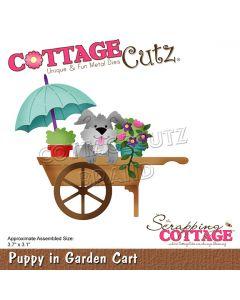 Rezalna šablona CottageCutz Puppy In Garden Cart