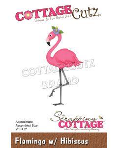 Rezalna šablona CottageCutz Flamingo w/ Hibiscus