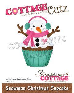 Rezalna šablona CottageCutz Snowman Christmas Cupcake