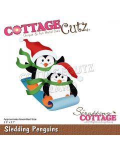 Rezalna šablona CottageCutz Sledding Penguins
