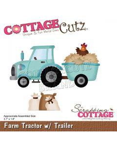 Rezalna šablona CottageCutz Farm Tractor w/ Trailer