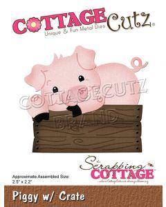Rezalna šablona CottageCutz Piggy w/ Crate