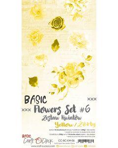 Set obojestranskih papirjev za rezanje - BASIC - FLOWERS - SET 06 - 15,5x30,5 cm - 250g - 18 listov