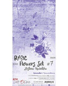 Set obojestranskih papirjev za rezanje - BASIC - FLOWERS - SET 07 - 15,5x30,5 cm - 250g - 18 listov