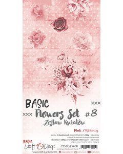 Set obojestranskih papirjev za rezanje - BASIC - FLOWERS - SET 08 - 15,5x30,5 cm - 250g - 18 listov