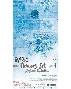Set obojestranskih papirjev za rezanje - BASIC - FLOWERS - SET 09 - 15,5x30,5 cm - 250g - 18 listov