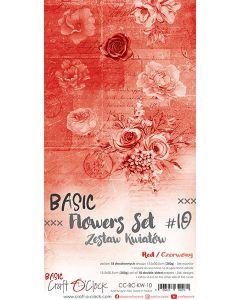 Set obojestranskih papirjev za rezanje - BASIC - FLOWERS - SET 10 - 15,5x30,5 cm - 250g - 18 listov