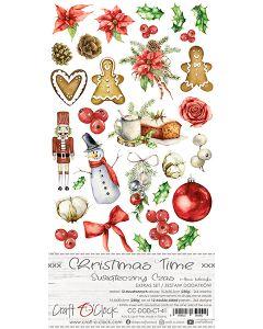 Set papirjev za rezanje - CHRISTMAS TIME - dodatki - 15,5 x 30,5 cm - 250g - 12 listov