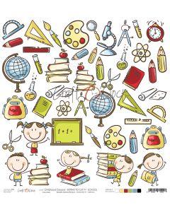Papir za rezanje - CHILDHOOD CRAYONS - IV SCHOOL - 30,5 x 30,5 cm - 250g