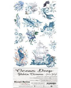 Set papirjev za rezanje - OCEAN DEEP - dodatki - 15,5 x 30,5 cm - 250g - 12 listov