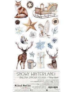 Set papirjev za rezanje - SNOWY WINTERLAND - dodatki - 15,5 x 30,5 cm - 250g - 12 listov