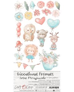 Set papirjev za rezanje - WOODLAND FRIENDS - dodatki - 15,5 x 30,5 cm - 250g - 18 listov
