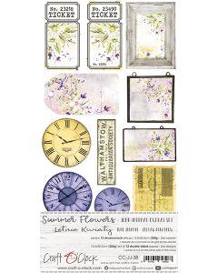 Set papirjev za rezanje - SUMMER FLOWERS - JUNK JOURNAL SET - 15,5 x 30,5 cm - 190g in 250g - 6 listov